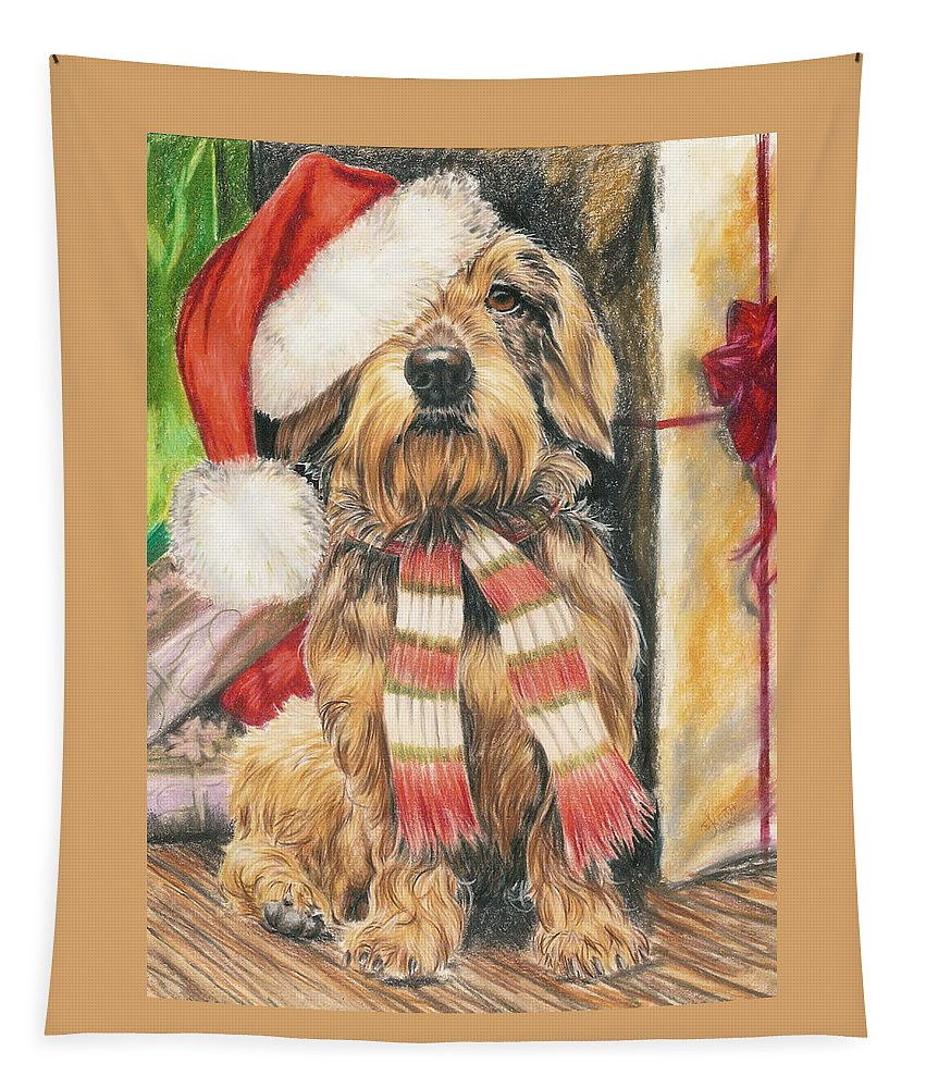 Hound Group Tapestry featuring the drawing Santas Little Yelper by Barbara Keith