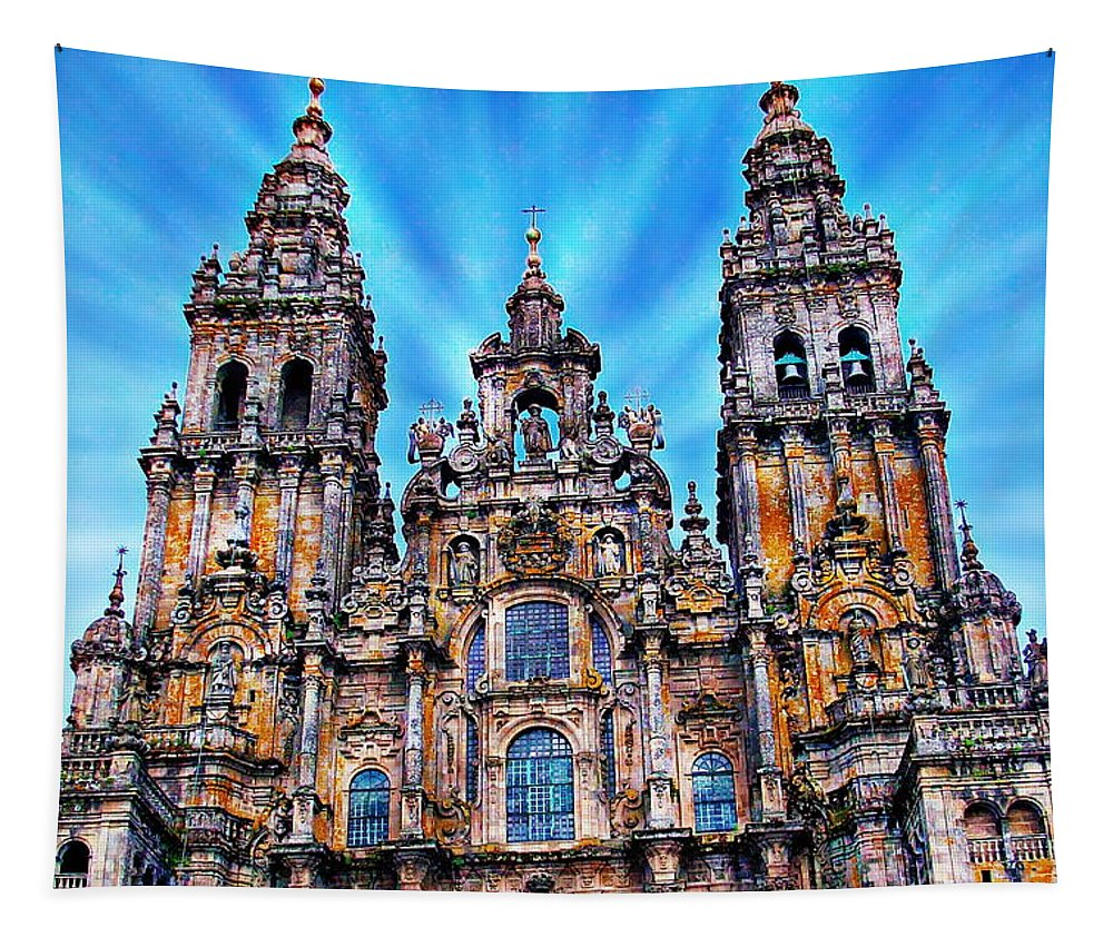 Church Tapestry featuring the photograph Santiago De Compostela Cathedral by Anthony Dezenzio