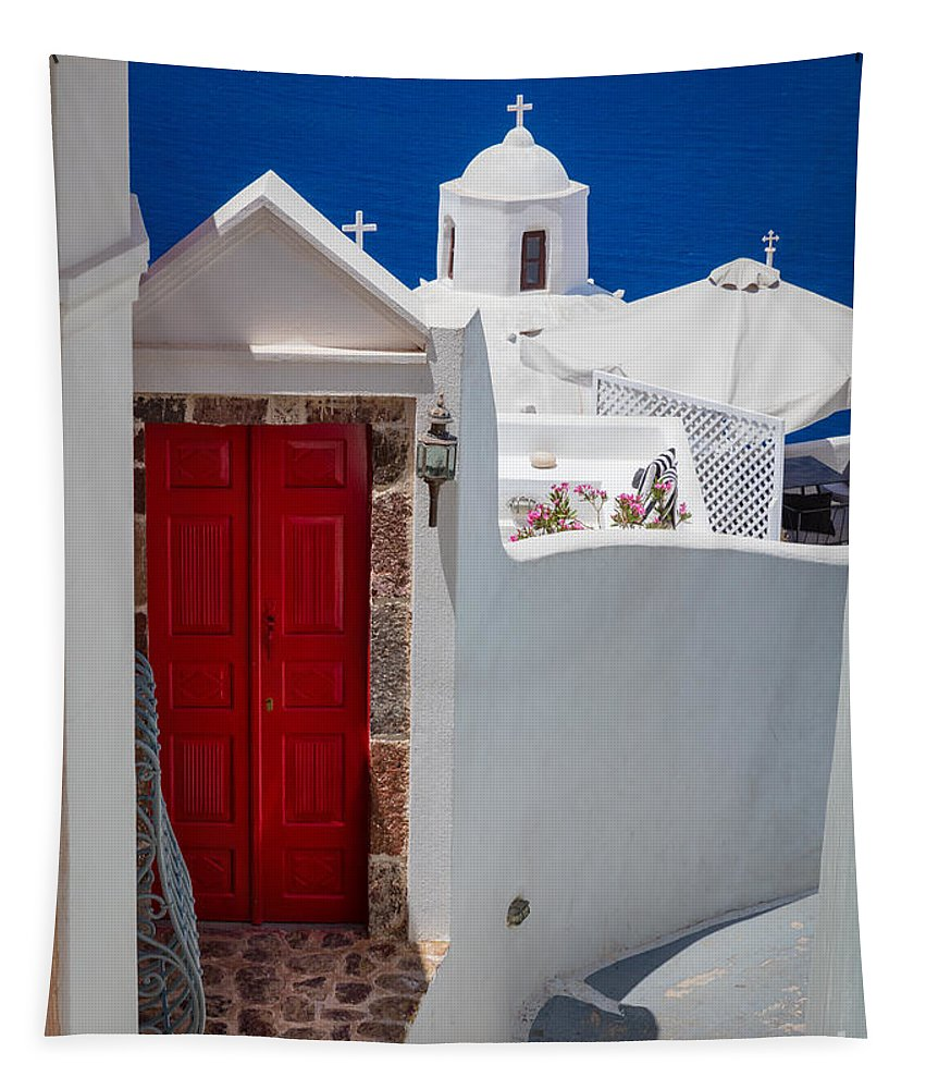 Aegean Sea Tapestry featuring the photograph Santorini Red Door by Inge Johnsson