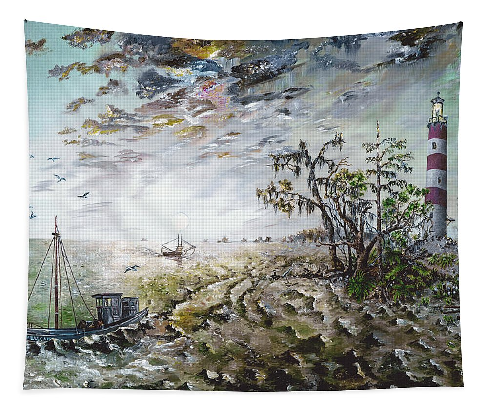 Lighthouse Tapestry featuring the painting Sapelo Island by Richard Barham