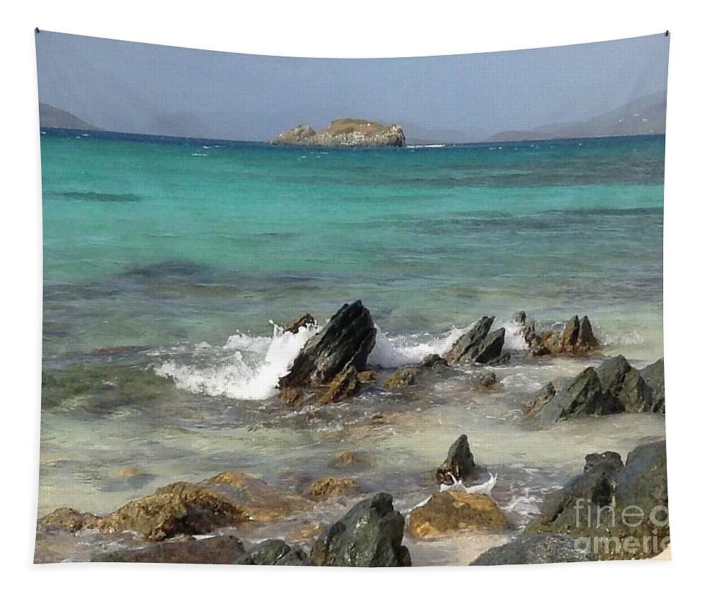 St. Thomas Tapestry featuring the photograph Sapphire Beach by Gina Sullivan