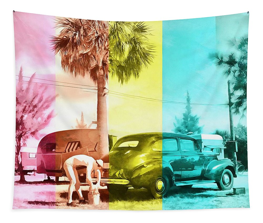 Florida Tapestry featuring the painting Sarasota Series Wash The Car by Edward Fielding