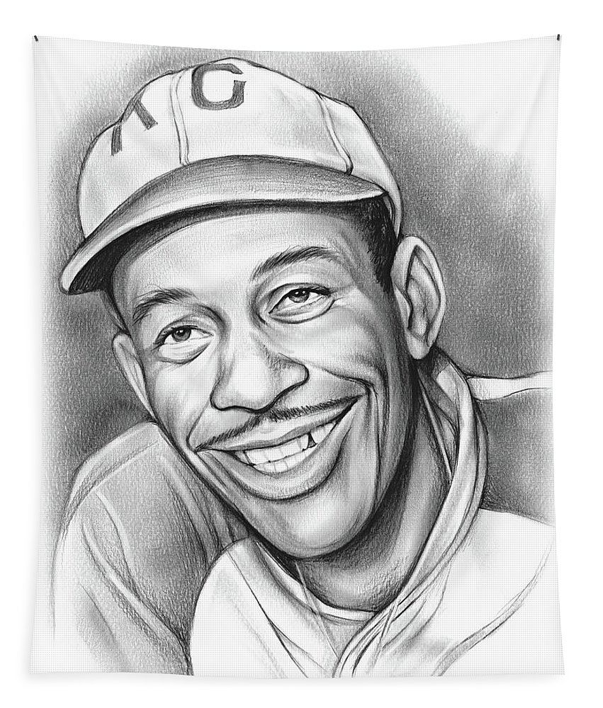 Satchel Paige Tapestry featuring the drawing Satchel Paige II by Greg Joens