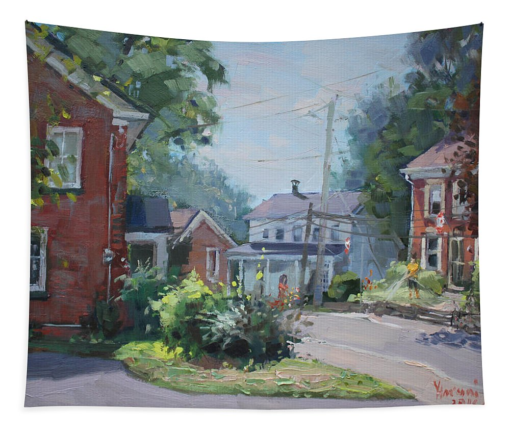 Saturday Tapestry featuring the painting Saturday At Glen Williams On by Ylli Haruni