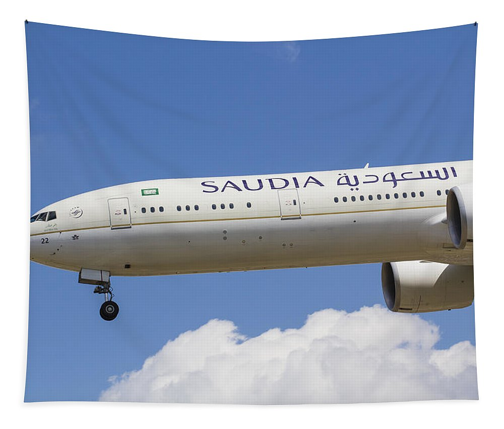 Saudi Arabia Tapestry featuring the photograph Saudi Arabian Airlines Boeing 777 by David Pyatt
