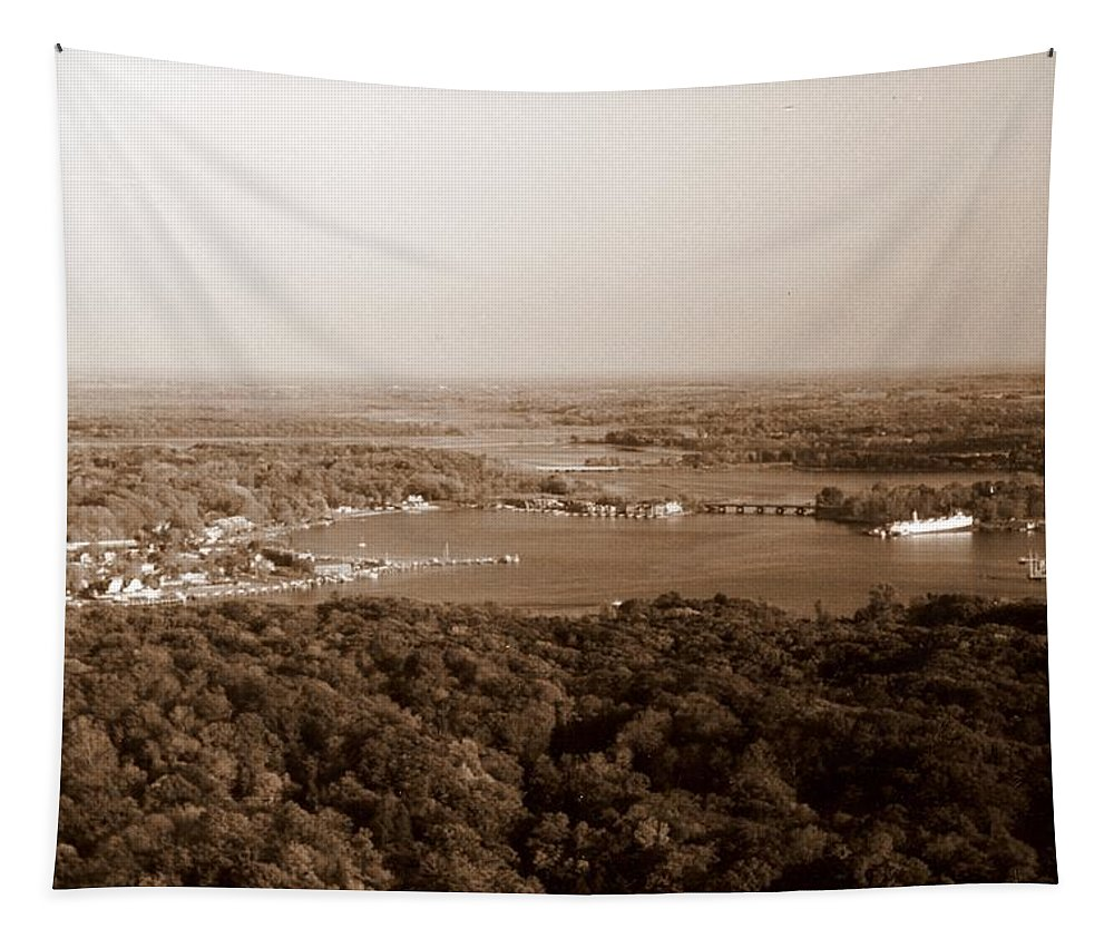 Saugatuck Tapestry featuring the photograph Saugatuck Michigan Harbor Aerial Photograph by Michelle Calkins