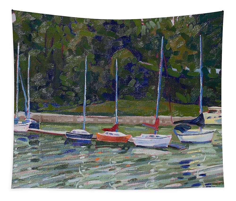 910 Tapestry featuring the painting Saugeen Sails by Phil Chadwick