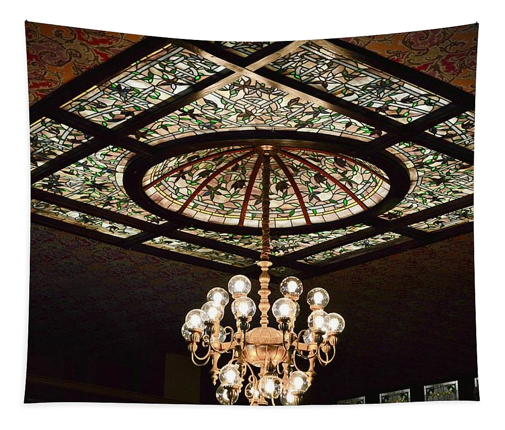 Ceiling Tapestry featuring the photograph Savannah Antique Ceiling by Linda Covino