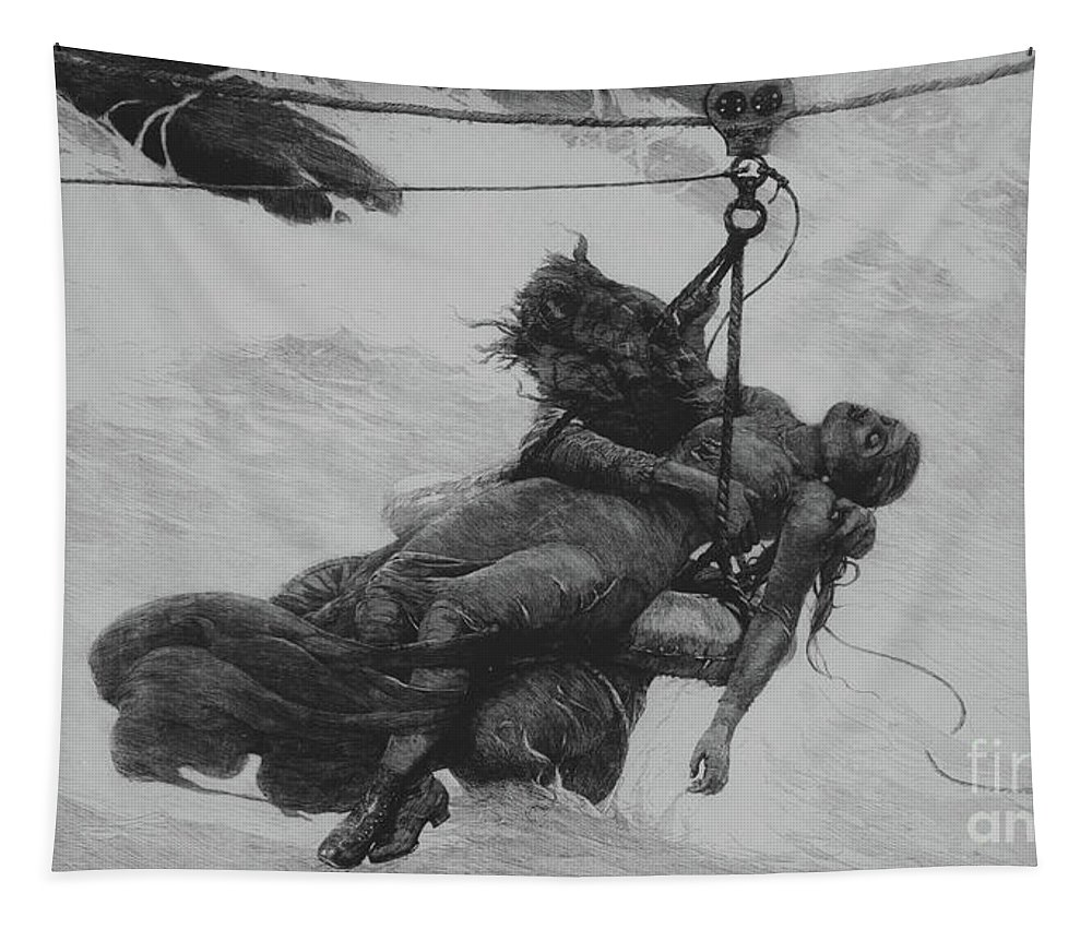Saved Tapestry featuring the drawing Saved, 1889 by Winslow Homer