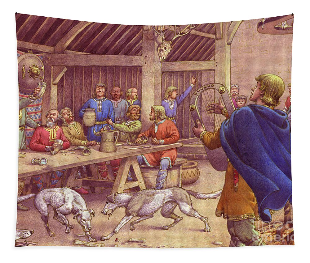 Anglo Saxon Feast Tapestry featuring the painting Saxons Carousing by Pat Nicolle