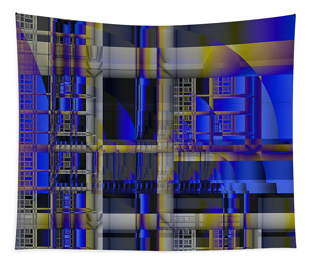 Tapestry featuring the digital art Scaffold II by Richard Ortolano