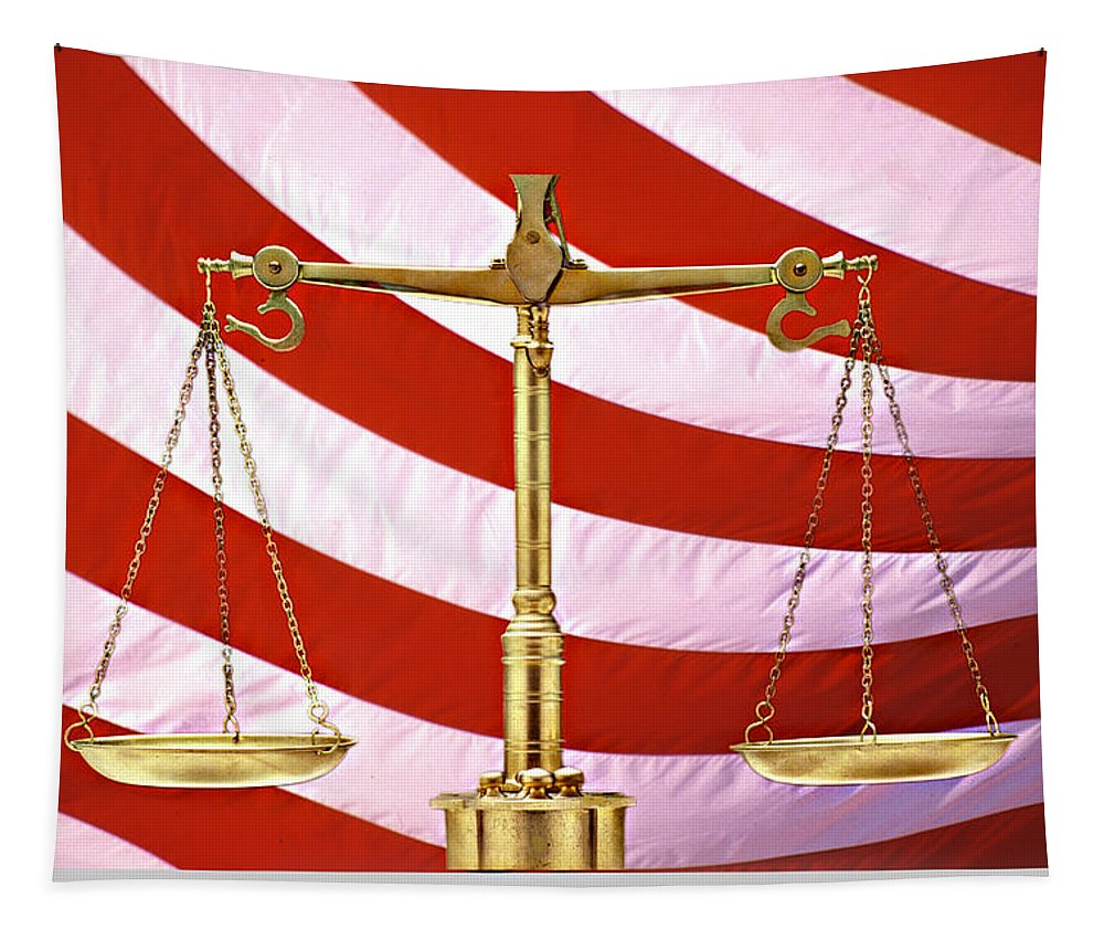 Photography Tapestry featuring the photograph Scales Of Justice American Flag by Panoramic Images