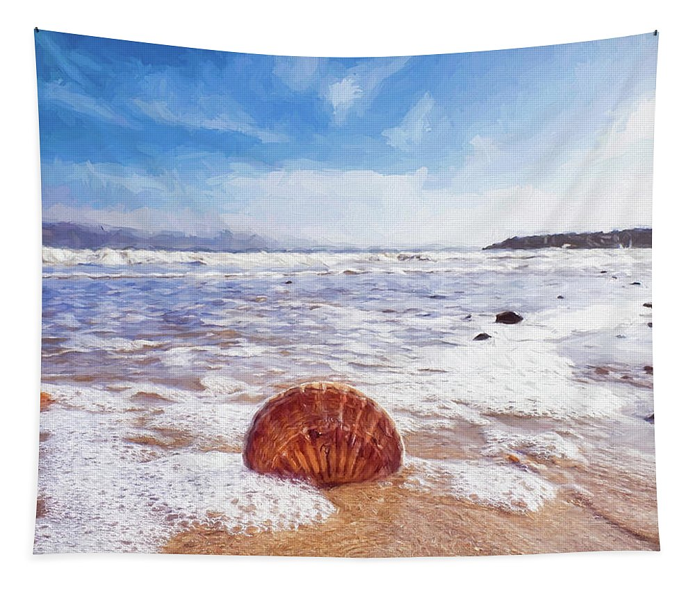 Shell Tapestry featuring the photograph Scallop Shell On The Beach - Impressions by Susie Peek