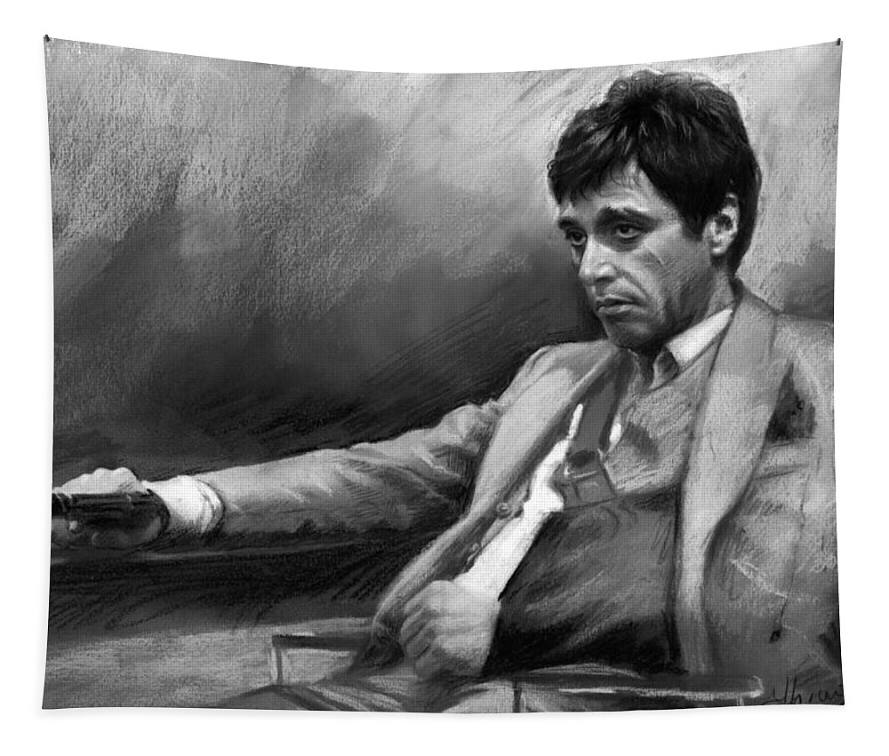 Al Pacino Tapestry featuring the pastel Scarface 2 by Ylli Haruni