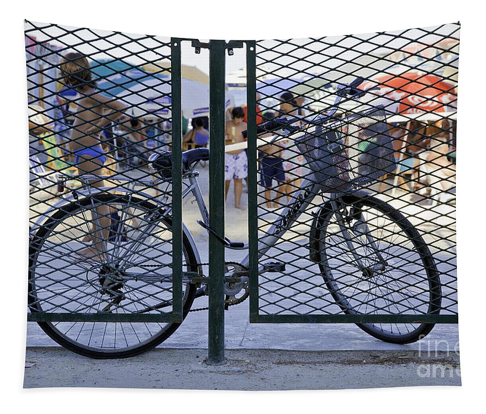 Bicycle Tapestry featuring the photograph Scene Through The Gate by Madeline Ellis