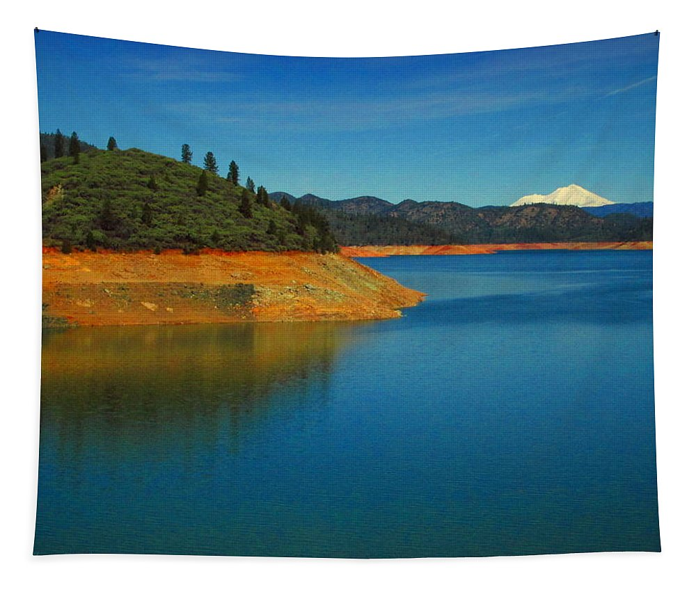 Shasta Tapestry featuring the photograph Scenic Shasta Lake by Joyce Dickens