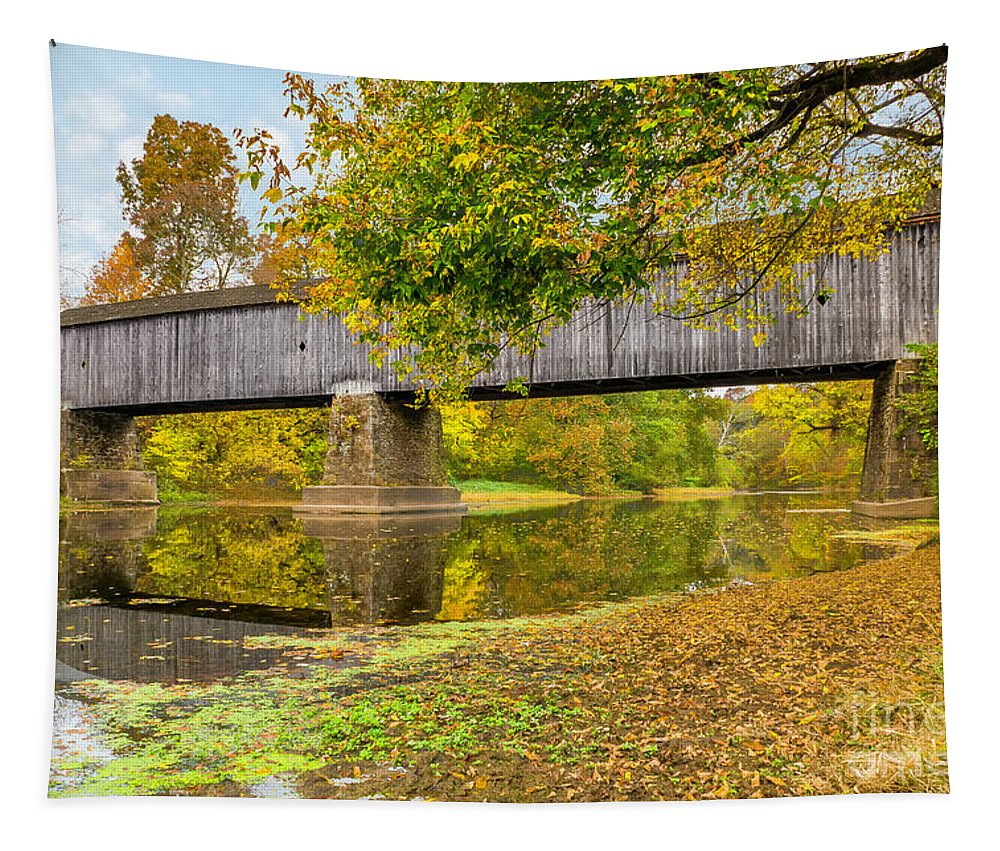 Neshaminy Creek Tapestry featuring the photograph Schofield Bridge Over The Neshaminy by Nick Zelinsky