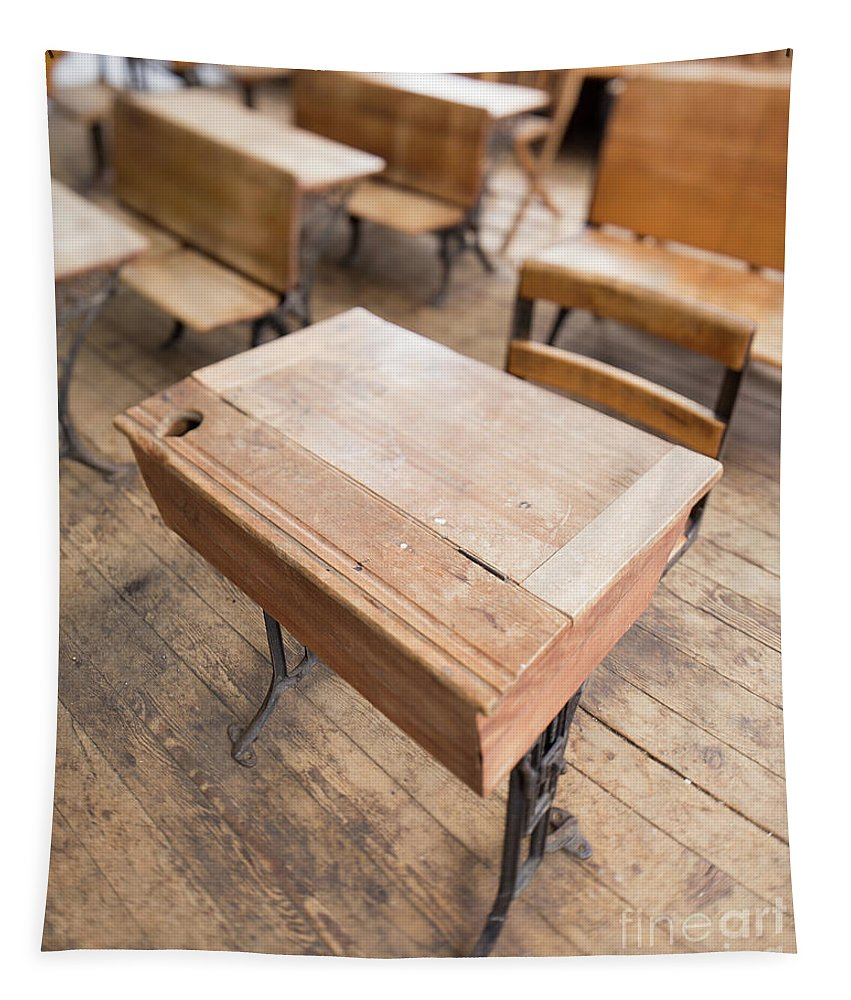 School Tapestry featuring the photograph School Desks In A One Room School Building by Edward Fielding