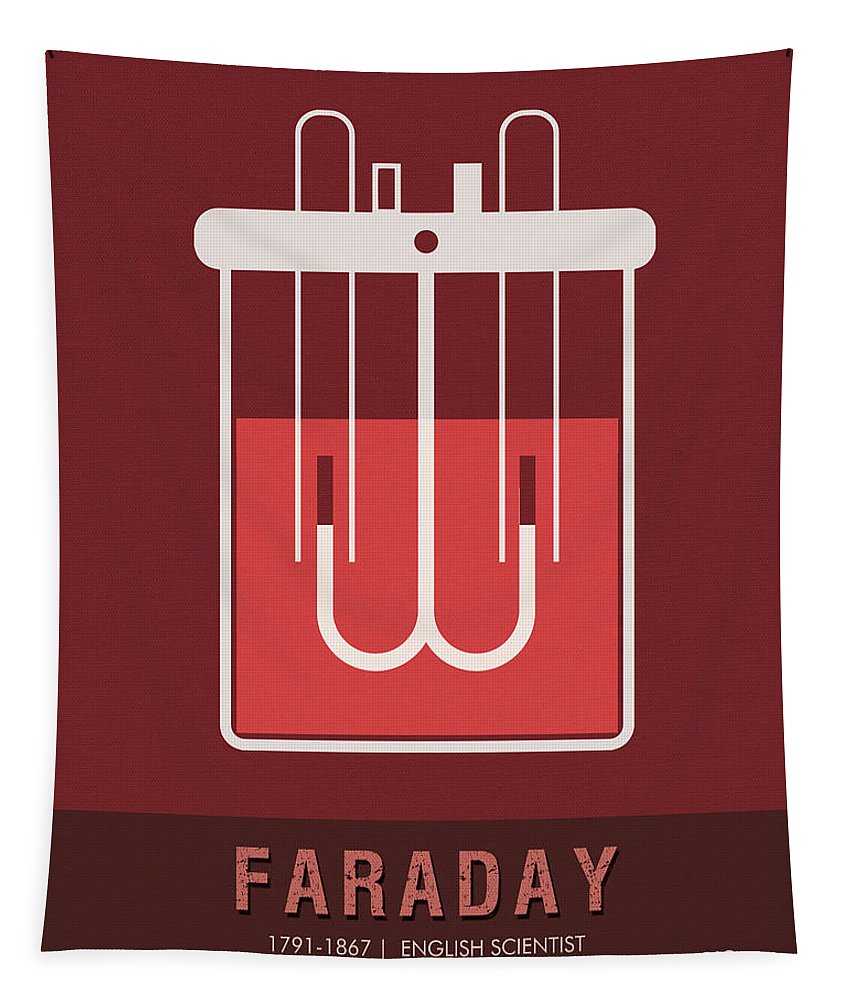 Faraday Tapestry featuring the mixed media Science Posters - Michael Faraday - Physicist, Chemist by Studio Grafiikka