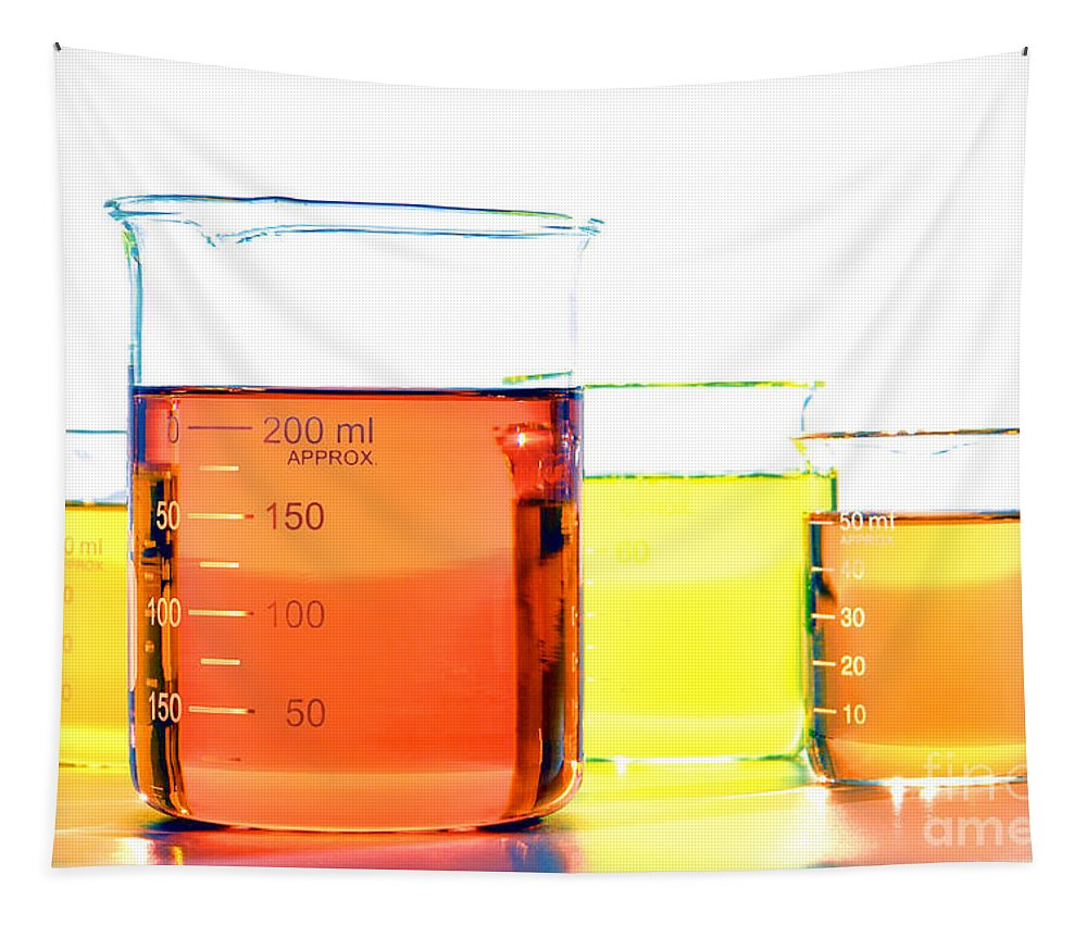 Beakers Tapestry featuring the photograph Scientific Beakers In Science Research Lab by Olivier Le Queinec