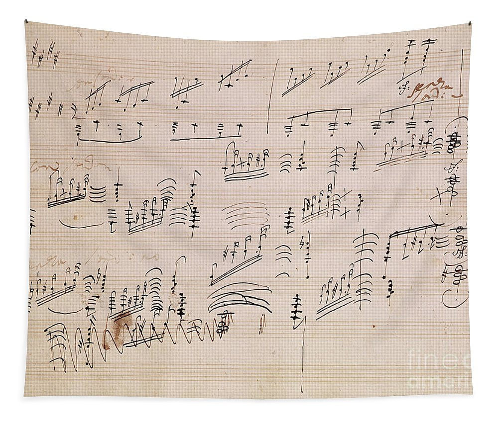 Score Tapestry featuring the drawing Score sheet of Moonlight Sonata by Ludwig van Beethoven