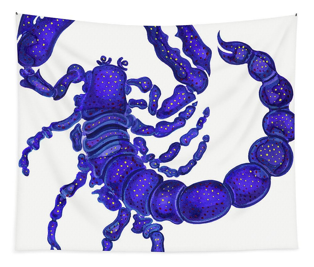 Scorpio Tapestry featuring the painting Scorpio by Jane Tattersfield