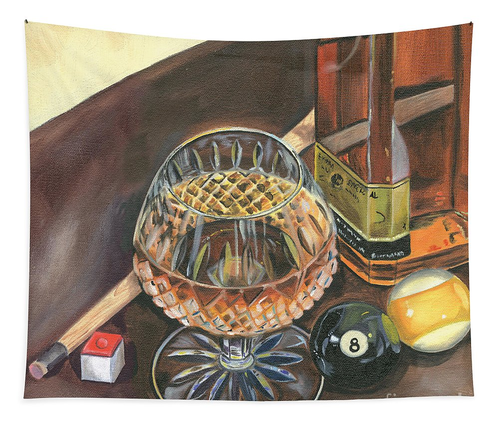 Scotch Tapestry featuring the painting Scotch Cigars And Pool by Debbie DeWitt