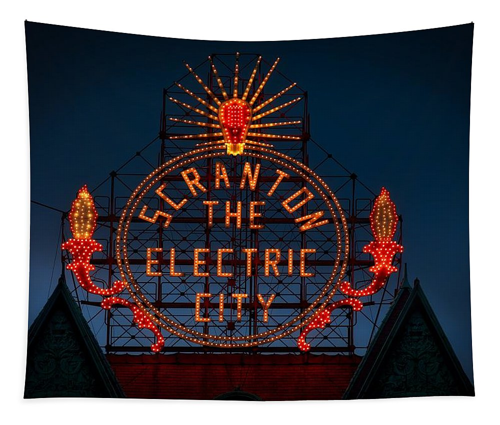 Sign Tapestry featuring the photograph Scranton - The Electric City by Mountain Dreams