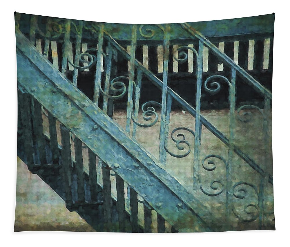 Architecture Tapestry featuring the photograph Scrolled Staircase By H H Photography Of Florida by HH Photography of Florida