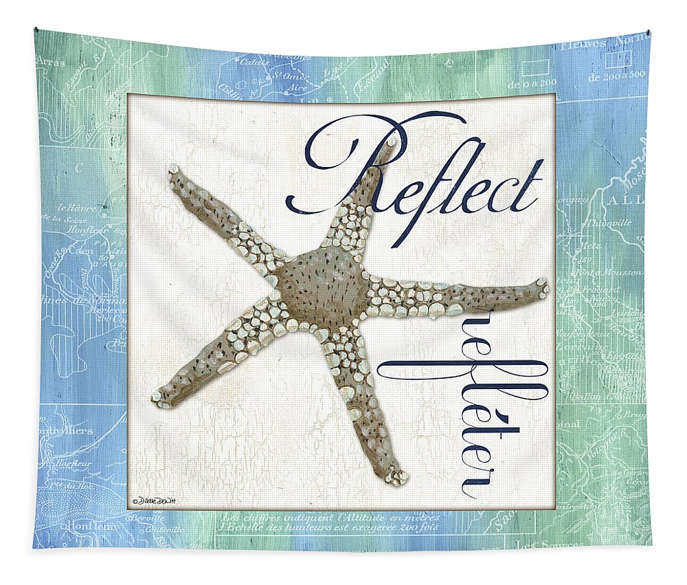 Starfish Tapestry featuring the painting Sea Glass 3 by Debbie DeWitt