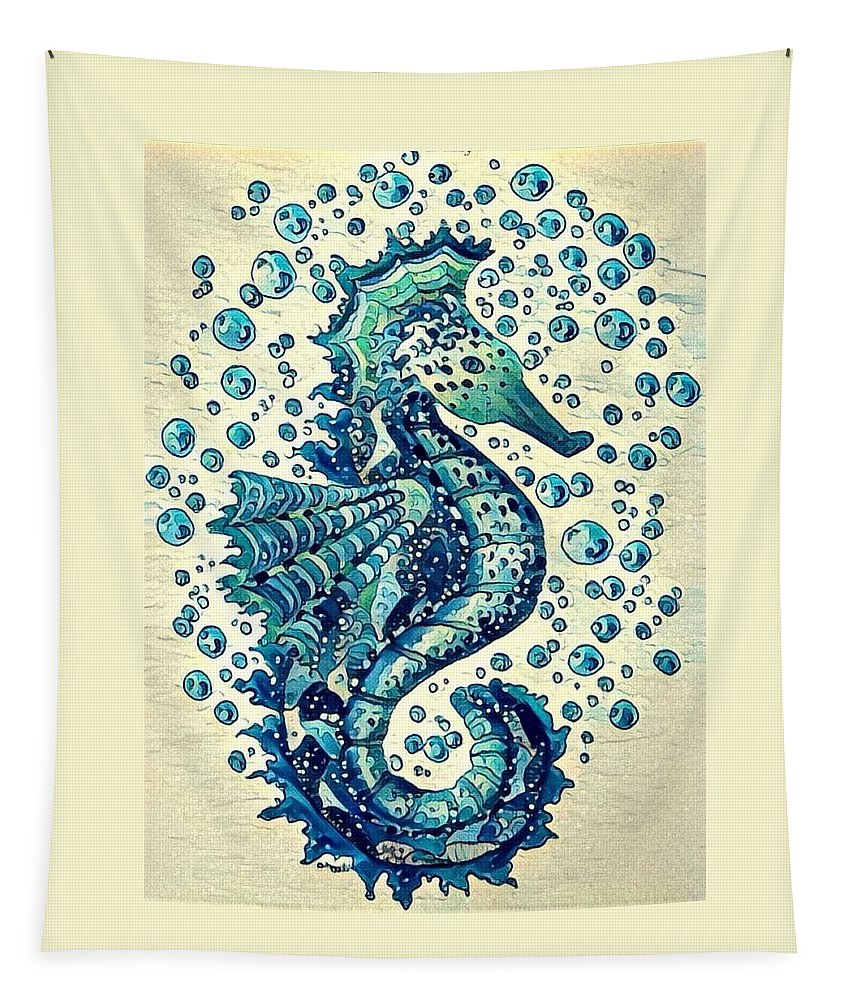 Seahorse Tapestry featuring the digital art Sea Horse A by Megan Walsh