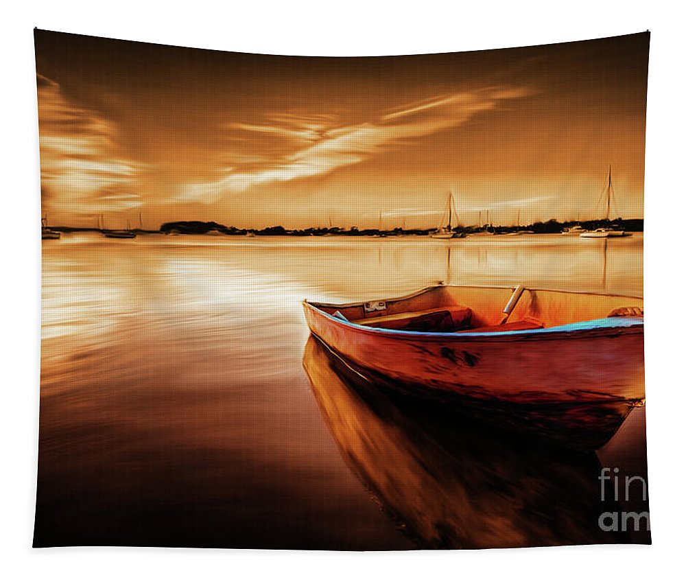 Gull Tapestry featuring the painting Sea Scape 01 by Gull G