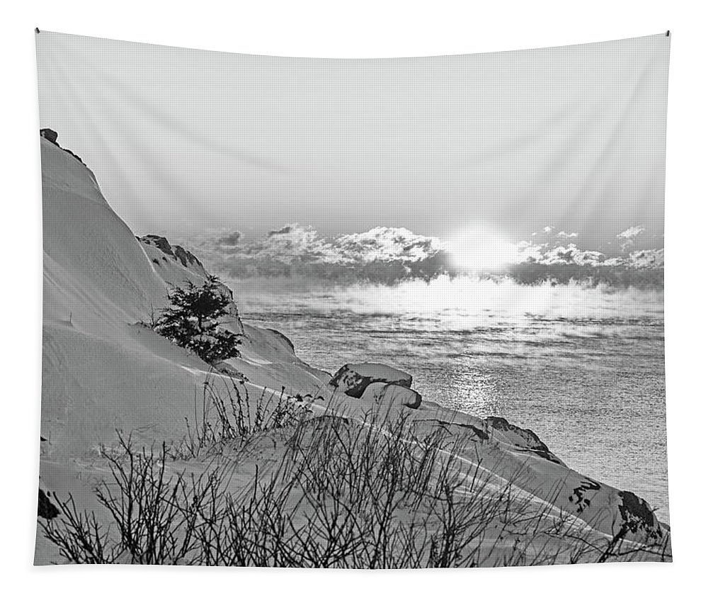 Marblehead Tapestry featuring the photograph Sea Smoke On Castle Island Marblehead Ma Sunrise 2 Black And White by Toby McGuire