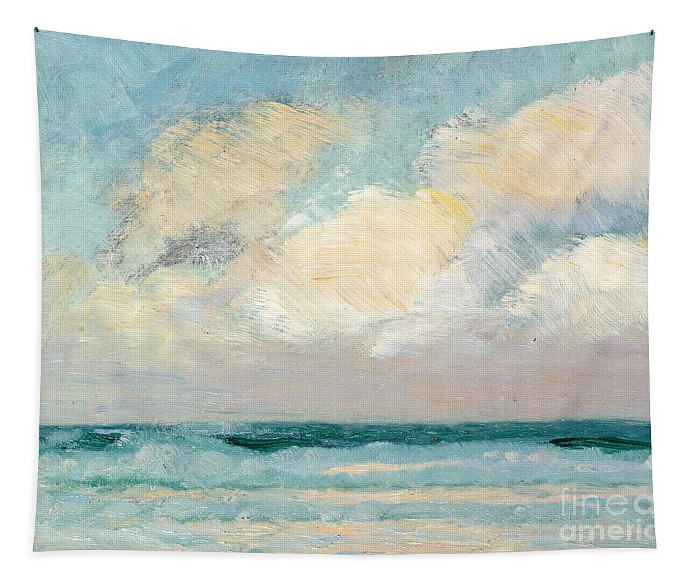 Seascape Tapestry featuring the painting Sea Study - Morning by AS Stokes
