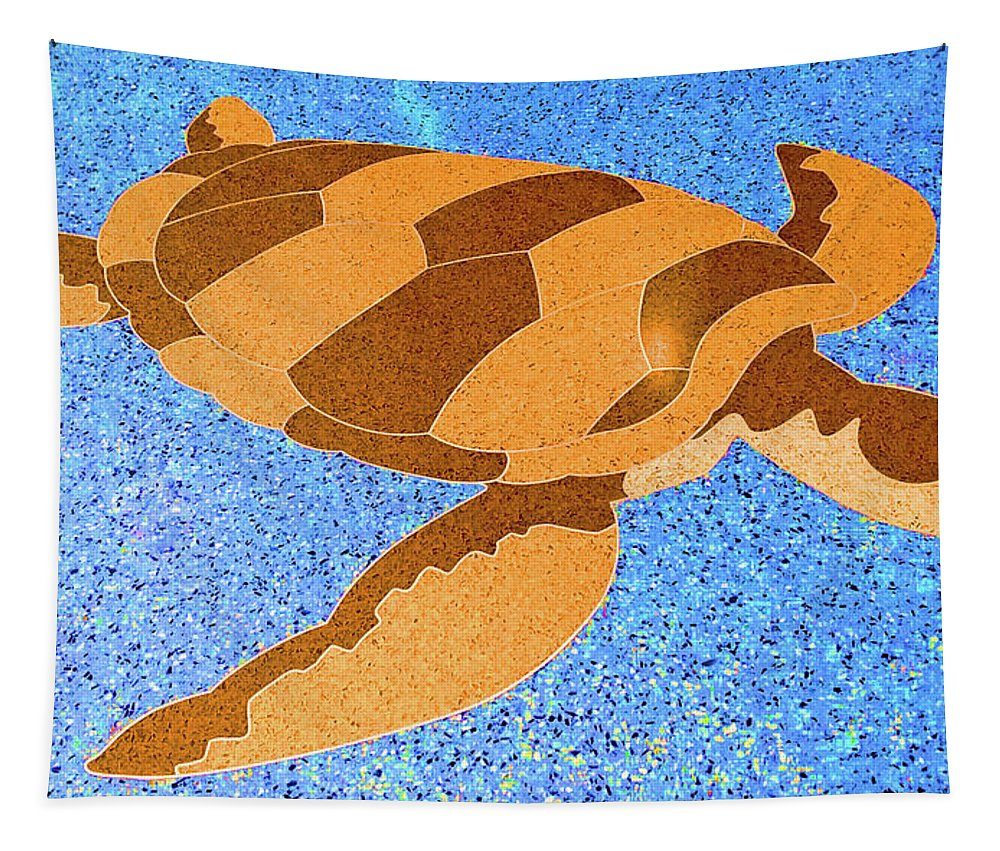 Photographic Print Tapestry featuring the digital art Sea Turtle Inlay In Vibrant Colors by Marian Bell