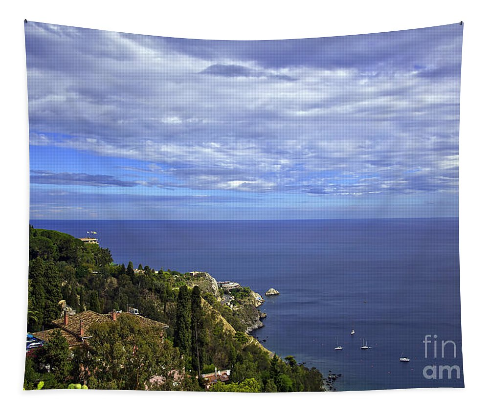 Landscape Tapestry featuring the photograph Sea View From Taormina by Madeline Ellis