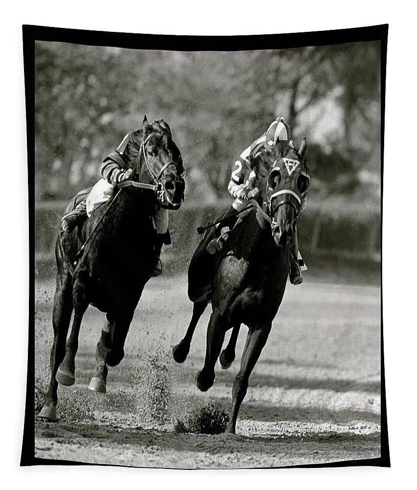Seabiscuit Tapestry featuring the mixed media Seabiscuit Vs War Admiral, Match Of The Century, Pimlico, 1938 by Thomas Pollart