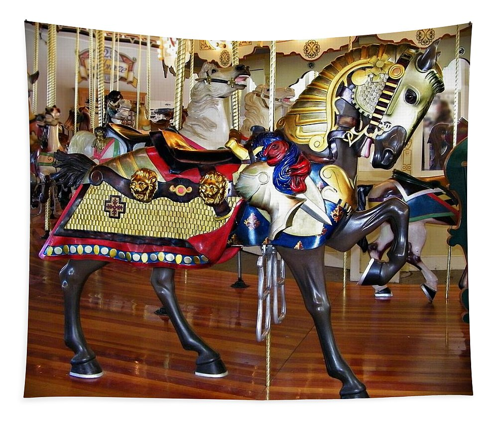 Square Tapestry featuring the photograph Seabreeze Carousel Armored Horse by Carol J Deltoro