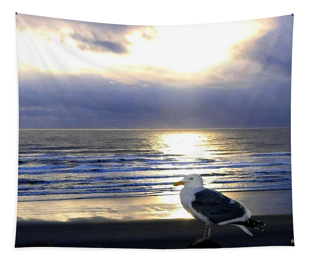 Seagull Tapestry featuring the photograph Seagull Sentinel by Will Borden