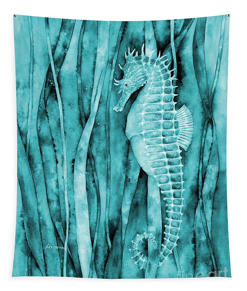 Seahorse Tapestry featuring the painting Seahorse On Blue by Hailey E Herrera