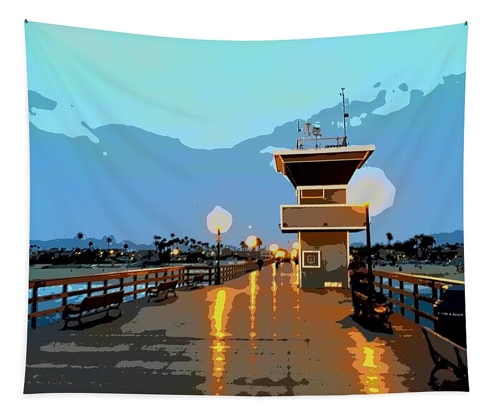 Pier Tapestry featuring the photograph Seal Beach Evening by FlyingFish Foto