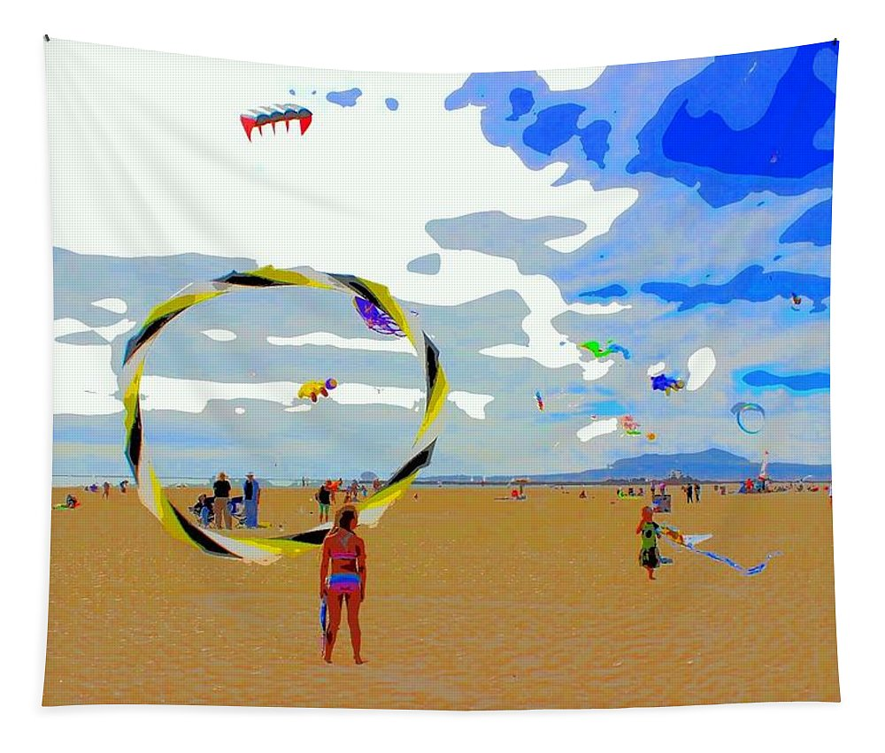 Landscape Tapestry featuring the photograph Seal Beach Kite Festival by FlyingFish Foto