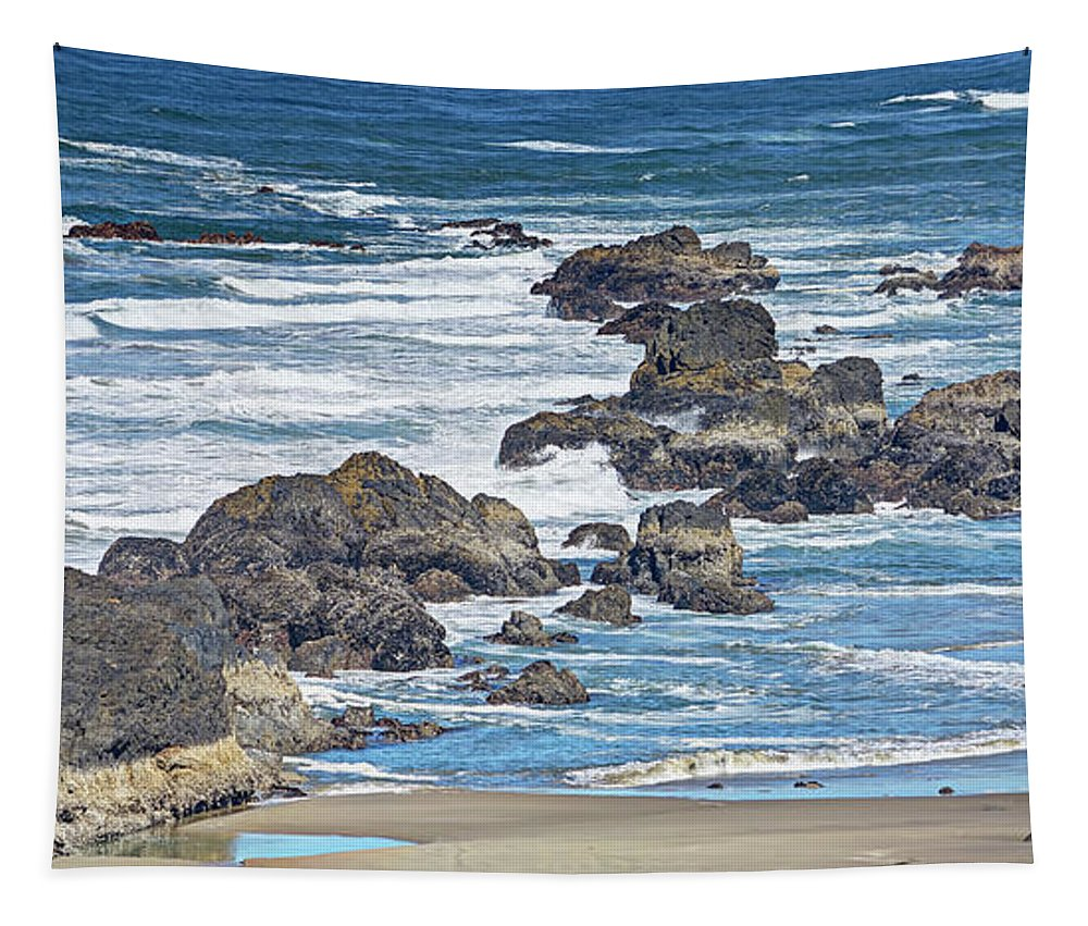 American Tapestry featuring the photograph Seal Rock Seascape by Marv Vandehey