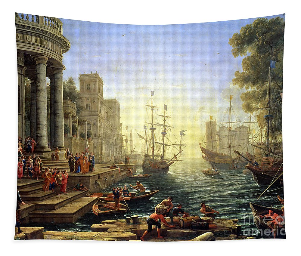 Seaport Tapestry featuring the painting Seaport With The Embarkation Of Saint Ursula by Claude Lorrain