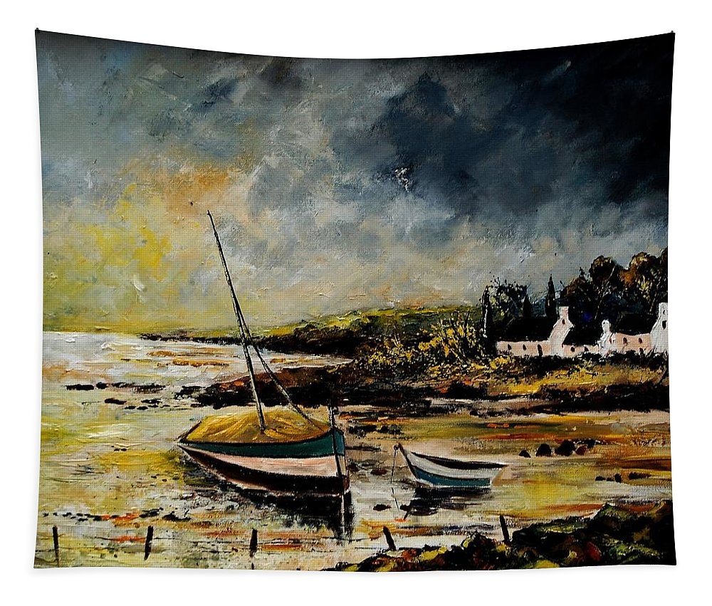 Sea Tapestry featuring the painting Seascape 452654 by Pol Ledent