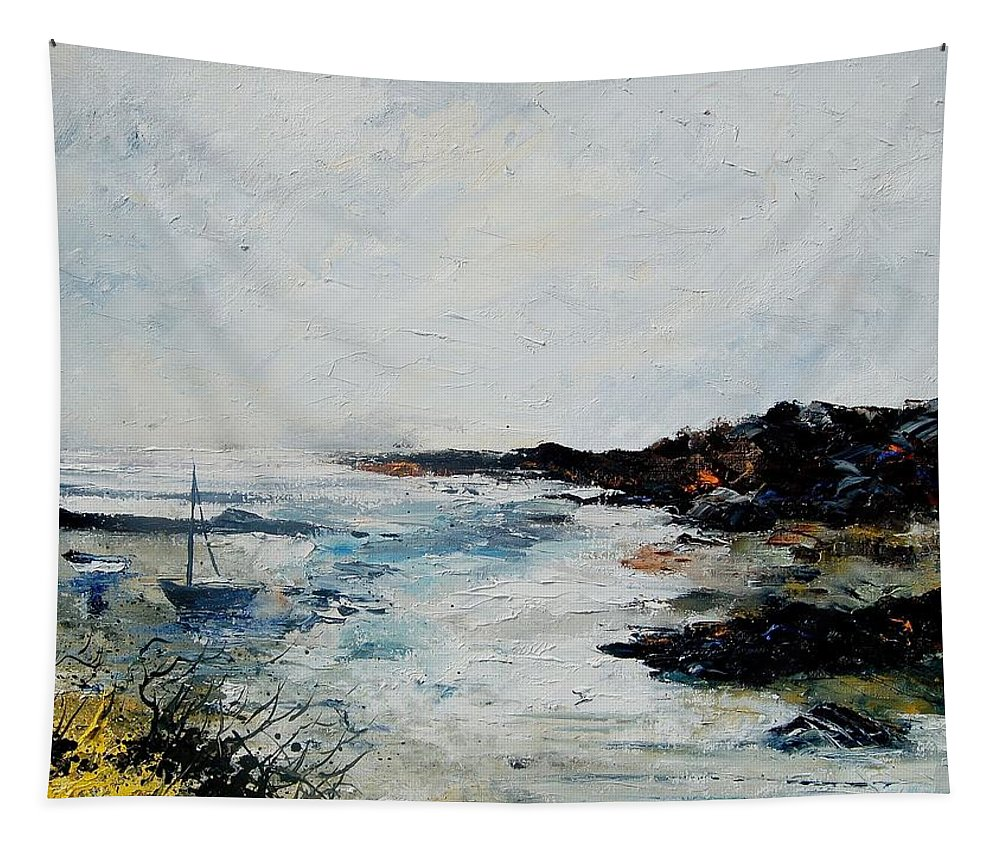 Sea Tapestry featuring the painting Seascape 68 by Pol Ledent