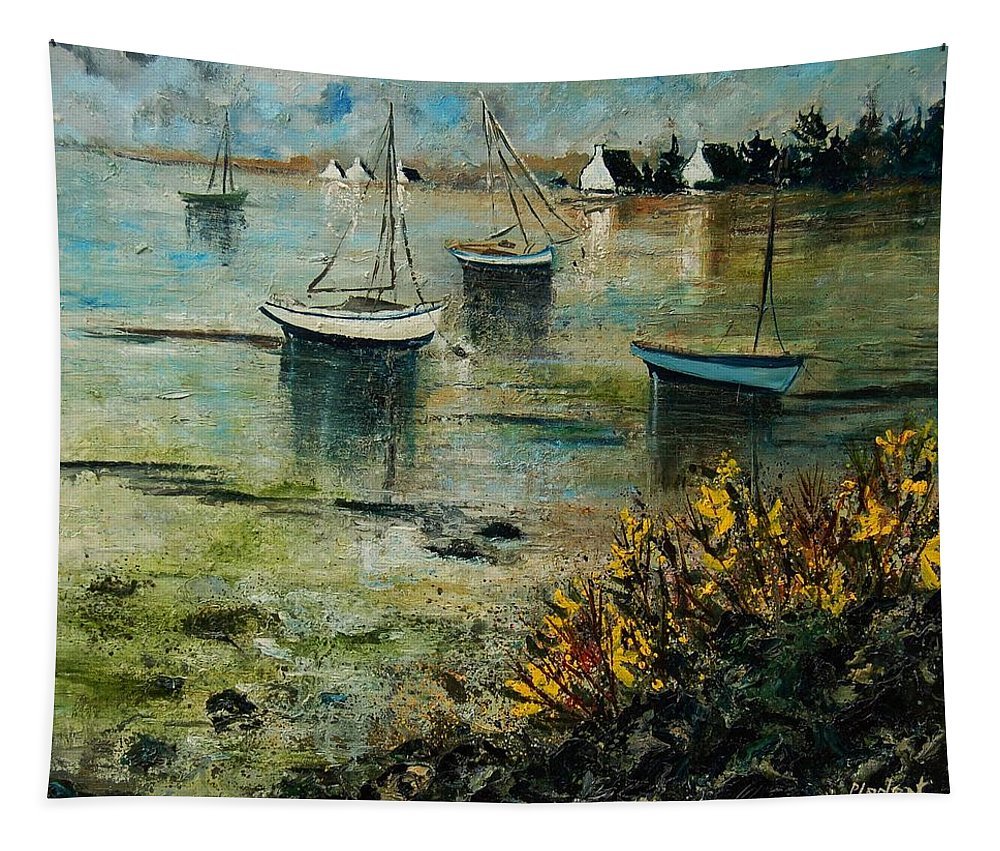 Seascape Tapestry featuring the print Seascape 78 by Pol Ledent