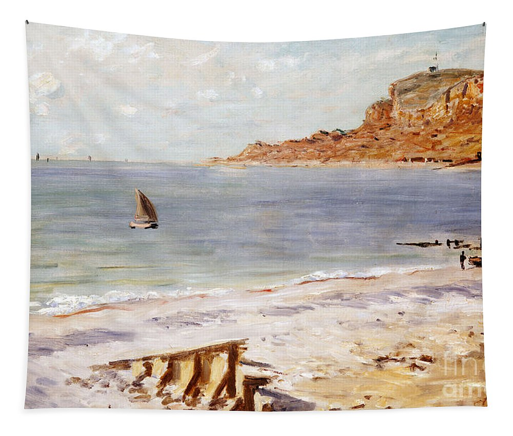 Seascape At Sainte-adresse (oil On Canvas) By Claude Monet (1840-1926) Tapestry featuring the painting Seascape At Sainte Adresse by Claude Monet
