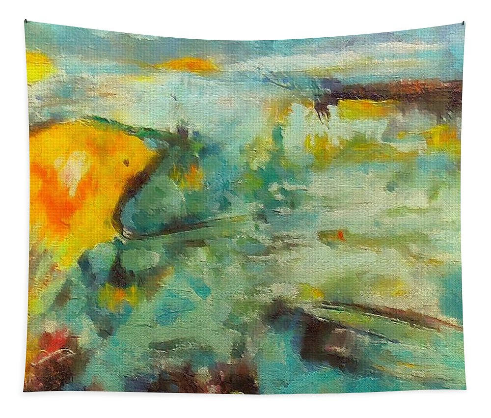 Seacsape Tapestry featuring the mixed media Seascape by Dragica Micki Fortuna