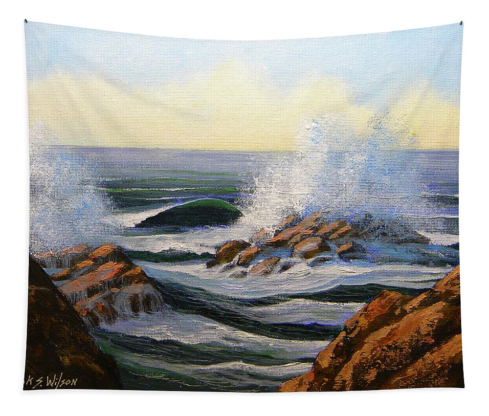 Seascape Tapestry featuring the painting Seascape Study 1 by Frank Wilson